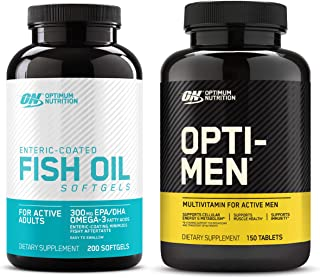 Optimum Nutrition Omega 3 Fish Oil, 300MG, Brain Support Supplement (200 Softgels) with Opti-Men, Mens Daily Multivitamin ...
