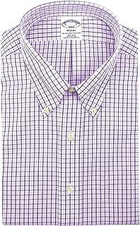 Men's 93534 Plaid Regent Fit Non Iron Dress Shirt White...