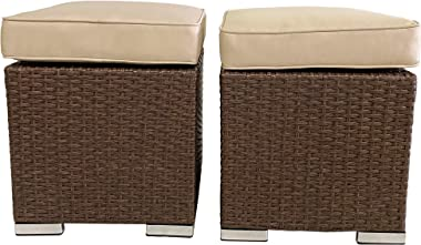 Outdoor Ottoman, 2 Pieces All Weather Brown Wicker Rattan Assembled Patio Furniture Ottoman, Outdoor Footstool Footrest Seat
