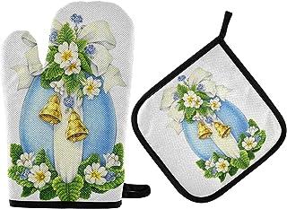 GOSMAO Gants de Four,Gants de Barbecue Résistant à Chaleur 2 Paire et 1 Maniques, Voeux de Pâques Floral Oeuf Bleu,Anti-Pa...