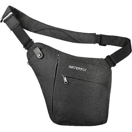 WATERFLY Crossbody Sling Bag Herren und Damen, Schultertasche mit Großer Kapazität Leichte Leicht und Einfach zu Tragen Brusttasche Multi Pocket Rucksack