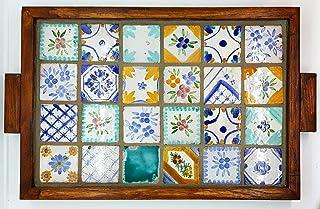 Vassoio Ceramica cornice in Legno massello Linea Mosaico Tozzetti 5x5 Oggetto d'arte Pezzo Unico Handmade Le Ceramiche del...