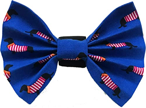 For The Fur Kids Blue Dog Bow Tie: Quirky Fashion Accessory for Pets with Adjustable Strap