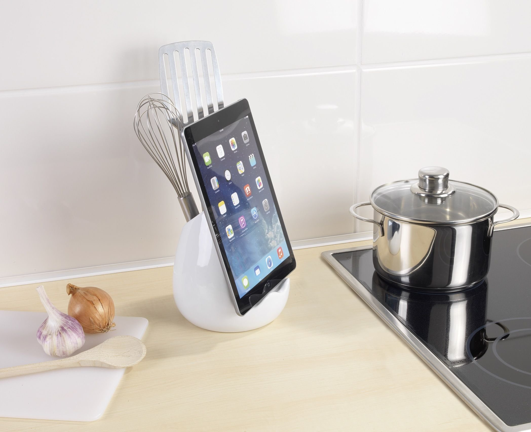 Wenko Organizador con Soporte para Tablet, Cerámica, Blanco, 1115.115x1115x115.115 cm