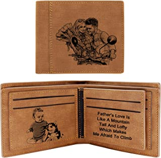 Photo Wallet for Men,Personalized Engraved Wallet,Personalized Gifts for Father,Husband,Son