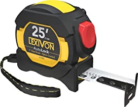 LEXIVON 25Ft/7.5m AutoLock Tape Measure | 1-Inch Wide Blade with Nylon Coating, Matte Finish White & Yellow Dual Sided Rul...