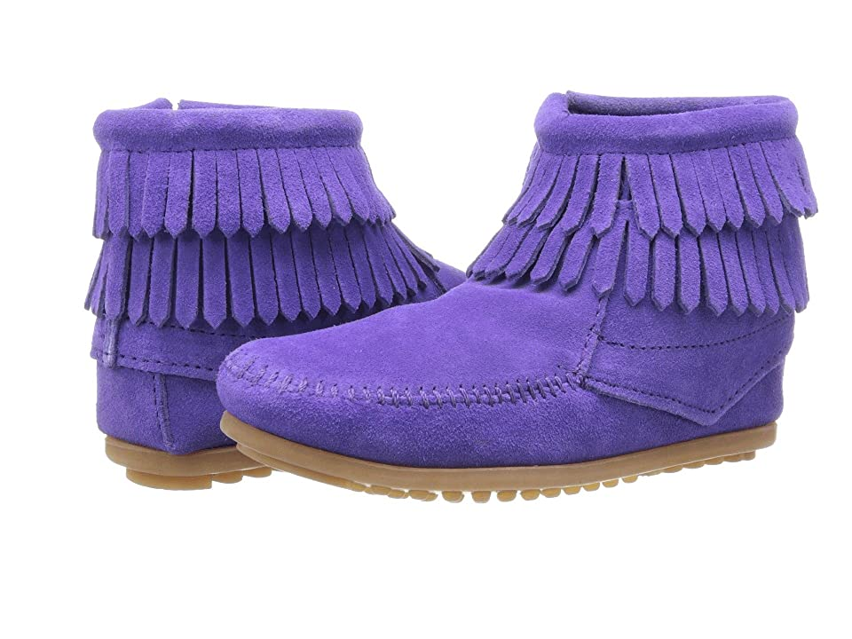 Minnetonka Kids Side Zip Double Fringe (Toddler/Little Kid/Big Kid) (Purple Suede) Girls Shoes