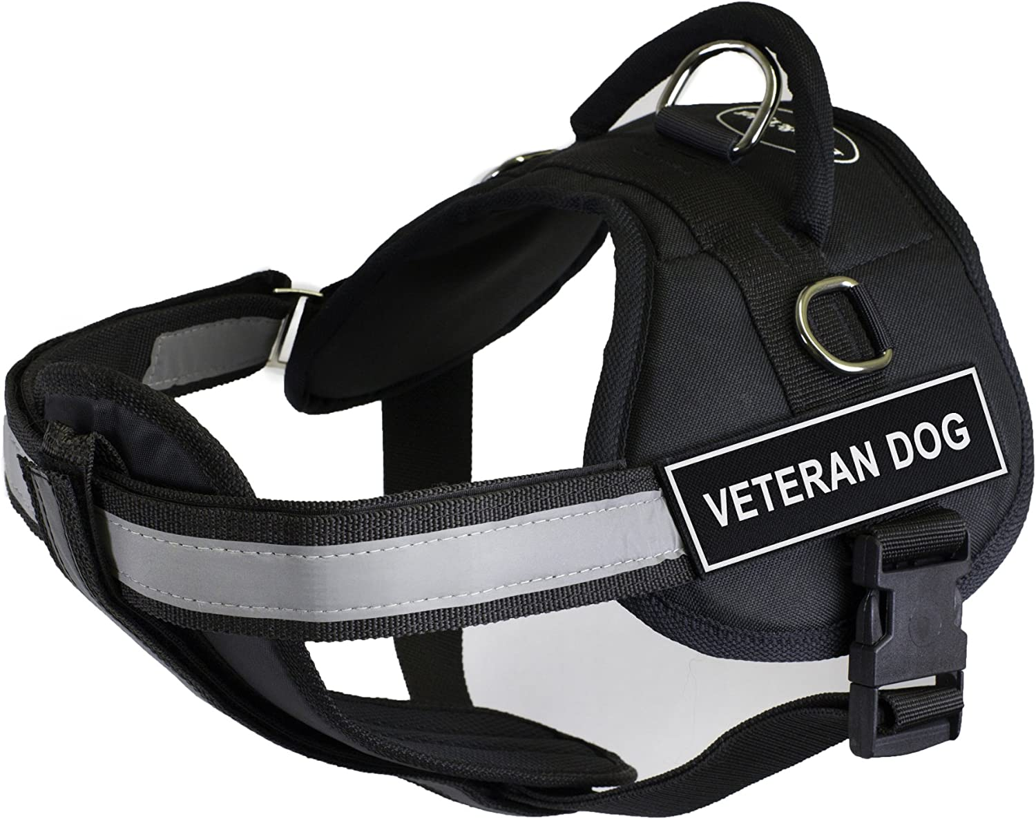 Dean & Tyler 25Inch to 34Inch Pet Harness with Padded Reflective Chest Straps, Small, Veteran Dog, Black