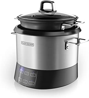 BLACK+DECKER RCR520S All-in-One Cooking Pot, 20-Cup Cooked/10-Cup Uncooked Rice Cooker, Slow Cooker and Food Steamer with Saute Function, Stainless Steel