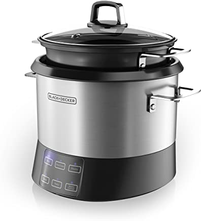 BLACK+DECKER RCR520S 6-in-1 Pot Cooking 20-Cup Cooked/10-Cup Uncooked Rice Cooker, Slow Cooker and Food Steamer with Saute Function, Stainless Steel