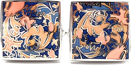 BRANDED BOX Peluche Designer Multicolor Enamel Premium Cufflinks for Men | Geniune
