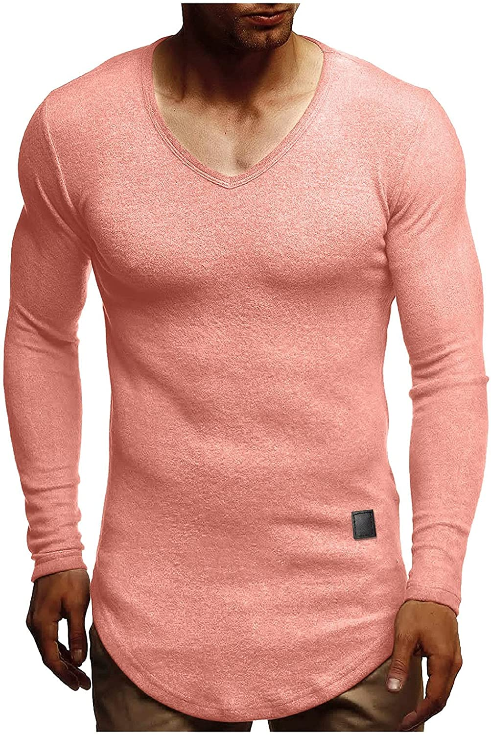 Mens Thermal Long Sleeve Shirts Cotton Cashmere Fleece T-Shirts V Neck Casual Basic Tees Big and Tall Slim Tops