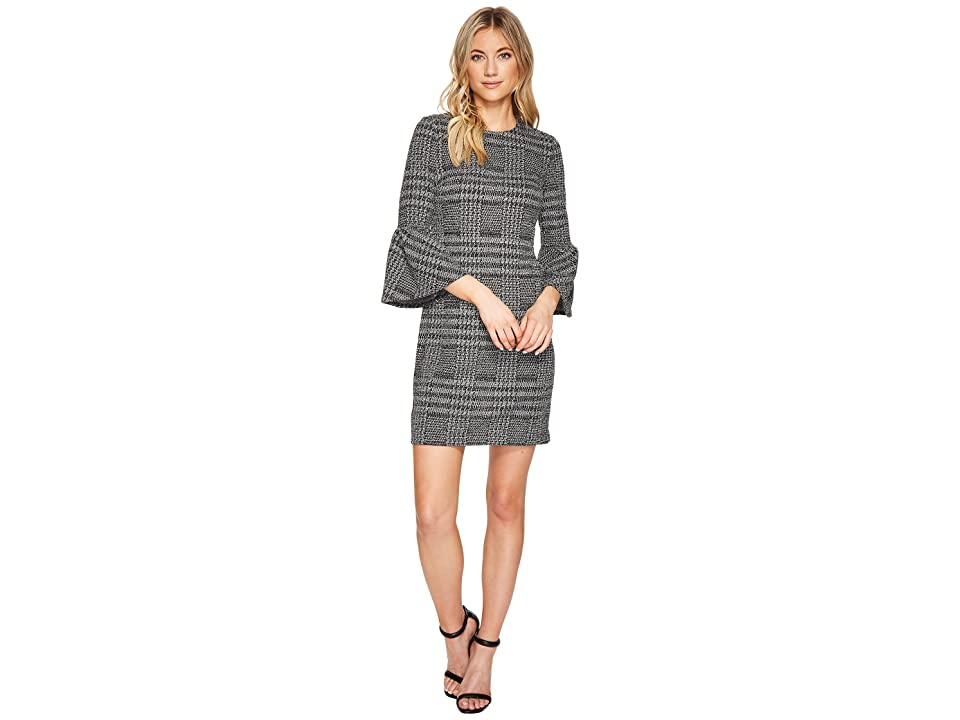Calvin Klein Plaid Print Bell Sleeve Dress CD7P286L (Black/Cream) Women
