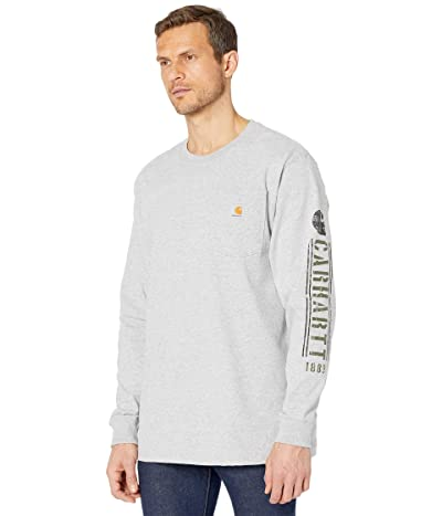 Carhartt Original Fit Heavyweight Long Sleeve Pocket Logo Graphic T-Shirt (Heather Gray) Men