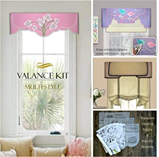 Window Valance, Multi-Style Reusable Decorating Kit, No Sewing, No Precise Measuring, Traceable Forms, Make DIY Cornice-Style Valances for Kitchen, Bedroom, Dining Room.