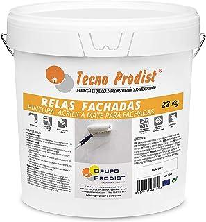 RELAS FACHADAS de Tecno Prodist - 22 Kg (BLANCO) Pintura Acrílica Blanco Mate Impermeabilizante para Fachadas - A Rodillo o brocha - Pintura de Calidad - Fácil Aplicación