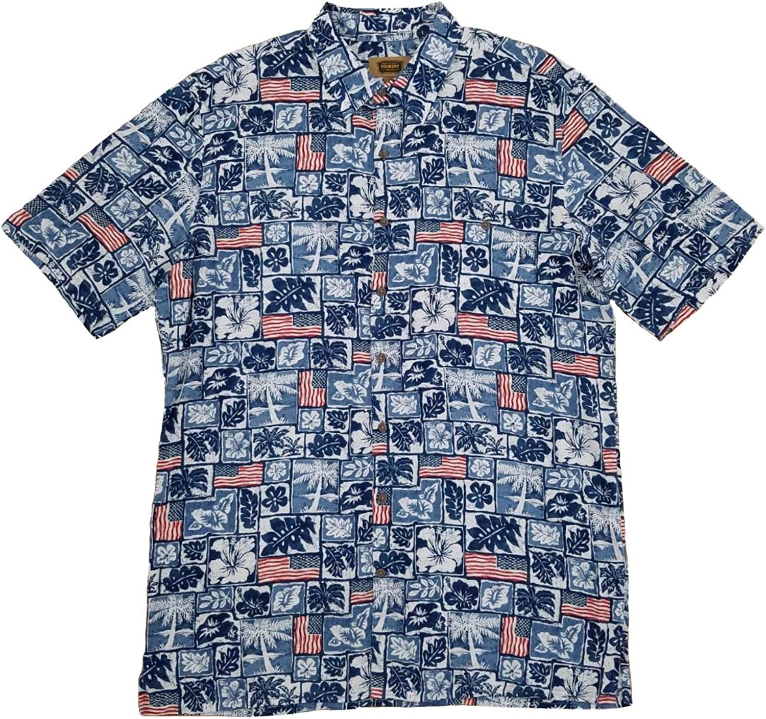 The Foundry Mens US Flag Tropical Panels Casual Button-Front Shirt