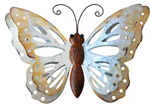 ShabbyDecor Galvanized Metal Butterfly Wall Art Hanging for Outdoor or Indoor Decor