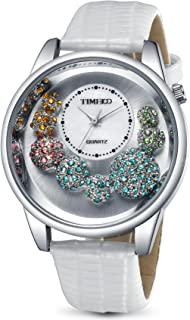 Time100 Womens Diamond Fashion Genuine Leather Band Watch The Tree of Lift Pattern Japanese Movt Watches for Women