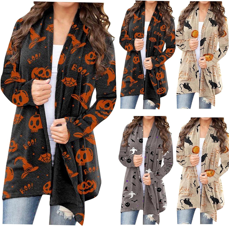 Women's Long Sleeve Cardigan Sweater Lightweight Casual Pumpkin Print Open Front Cardigans