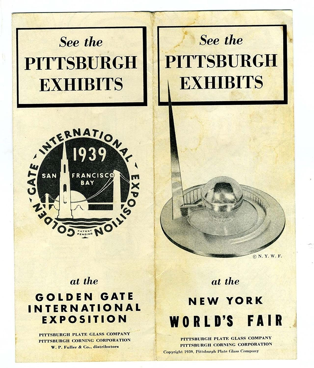 1939 Genuine Pittsburgh Exhibits Brochure NY OFFicial site Fair Gate Golden Int Worlds