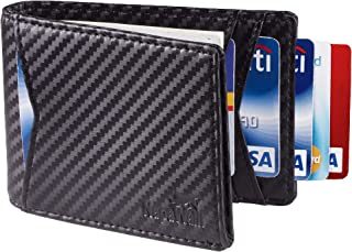 Toughergun Genuine Leather RFID Blocking Slim Bifold Slim Minimalist Front Pocket Wallets for Men