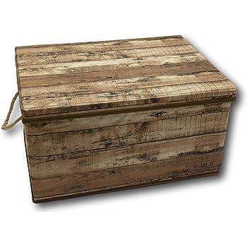 Urban Design Caja de almacenaje Plegable con Tapa y asa, Cuerda de Tejido en Aspecto de Madera de Estilo Retro (Mediana y marrón): Amazon.es: Hogar