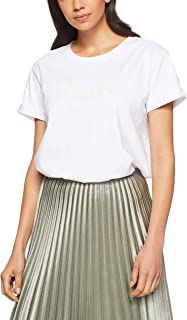 French Connection Women's FCUK Beaded Tee, Summer White/Black