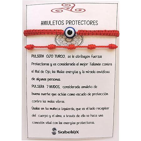SabelAX Pulsera Roja 7 Nudos y Pulsera Ojo Turco, Hilo Rojo, Amuleto Buena Suerte, Proteccion Mal de Ojo, Para Mujer, Hombre y para Parejas, Pulsera Kabbalah, 2 piezas.
