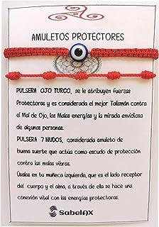 SabelAX Pulsera Roja 7 Nudos y Pulsera Ojo Turco, Hilo Rojo, Amuleto Buena Suerte, Proteccion Mal de Ojo, Para Mujer, Homb...