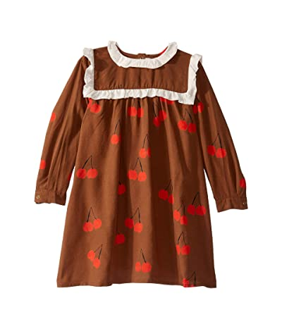 mini rodini Cherry Woven Frill Dress (Infant/Toddler/Little Kids/Big Kids) (Brown) Girl