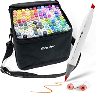 Ohuhu マーカーペン 筆先 120色 ふでタイプ ブレンダーペン付き イラストマーカー 筆・太字 鮮やか 手帳 イラスト 色塗り 塗る絵 カード DIY 子供 大人