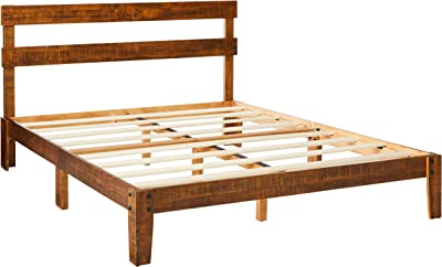 Olee Sleep VC38SF02Q Solid Wood Platform Headboard Bed Frame Natural