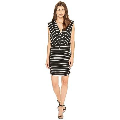 Nicole Miller Striped Jersey Blouson Dress (Black/Grey) Women