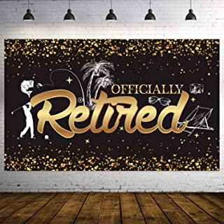 Happy Retirement Party Decorations, Giant Black and Gold Sign Retirement Party Banner Photo Booth Backdrop Background for Happy Retirement Party Supplies (Black)