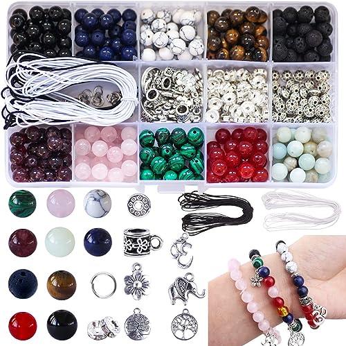 Colle 418pcs 8 mm Perle Pierre Naturelle Multicolore Pierre Semi Precieuse Perles Kit Lithothérapie pour Bijoux avec ...
