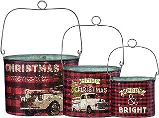 Primitives by Kathy Rustic Christmas 3-Piece Tin Bucket Set, Set of 3, Plaid