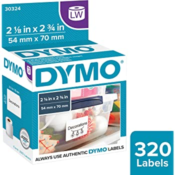 DYMO Authentic LW Large Multi-purpose Labels for LabelWriter Label Printers, White, 2-1/8'' x 2-3/4'', 1 roll of 320 (30324)