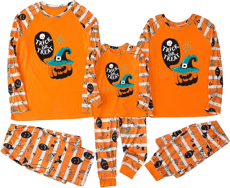 Matching Family Pajamas Sets Halloween Pumpkin Print Sleepwear Pjs Long Sleeve Pullover Top+Elastic Waist Pants