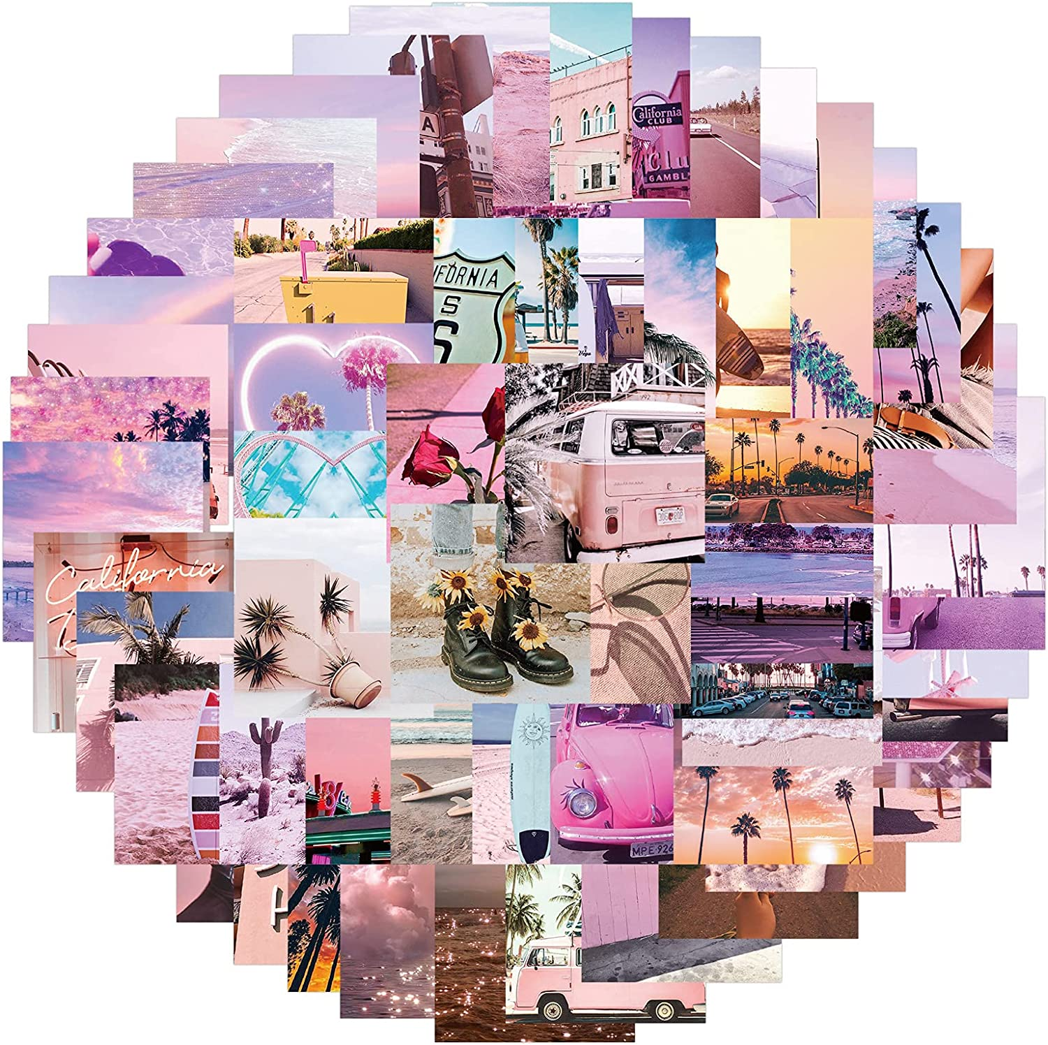 California Sunny Landscape Stickers 62pcs Waterproof Cute Fashion Stickers,Very Suitable for Laptops,Suitcases,Cars,Phones,Skateboards,Scrapbooks,Bikes,Cups,Bumpers,Motorcycles,Guitars and Snowboards.