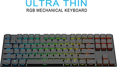 anidees Prismatic Ultra-Slim Wired/Wireless Gaming Mechanical Keyboard RGB LED Backlit Key Extra-Thin & Light, Low Profile Blue Switches, 87 Keys for MAC/Windows Layout - AI-KB-PM87