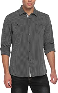 COOFANDY Men's Wrinkle-Free Classic Vertical Striped Long Sleeve Business Dress Shirts