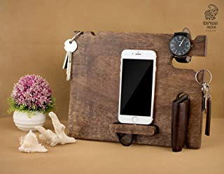 Eximious India Wooden Mobile Phone Docking Station, Desk Organizer for Smartphone, Watch, Wallet, Shades, Keys, Coins, Handmade Men's Gift, for Him, for Husband, Dad (11