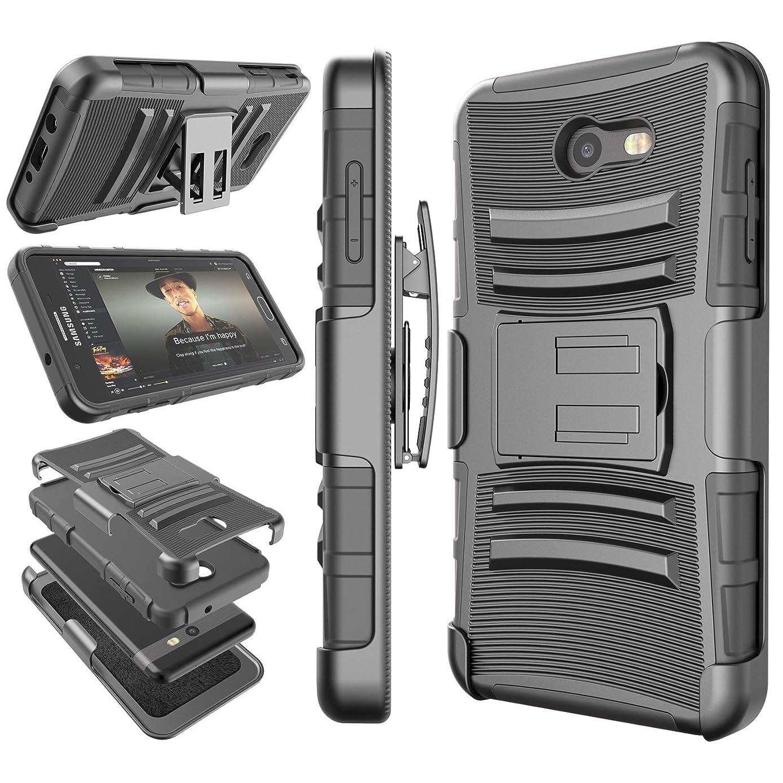 Tekcoo for Galaxy J7 Sky Pro/J7 Prime Case, for Galaxy Halo/J7 Perx/J7 V Holster Clip, [Hoplite] Shock Absorbing [Black] Locking Belt Heavy Full Body Kickstand Carrying Cover for Samsung J7 2017