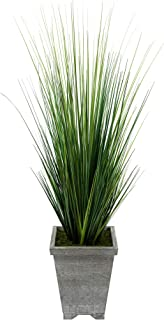 House of Silk Flowers Artificial 4ft PVC Grass in Washed Wood Planter (Dark Grey-Washed)