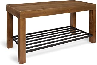 Kate and Laurel Jeran Entryway Farmhouse Bench with Iron Shoe Shelf, 36x14x20, Brown