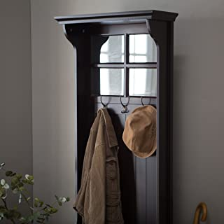 Great Quality Beautifully Crafted Richland Mini Hall Tree, Features Paned Mirror Top Under-seat Storage, Solid Wood Frame, 3 Double Hooks, Measures 24l X 17d X 70h In.