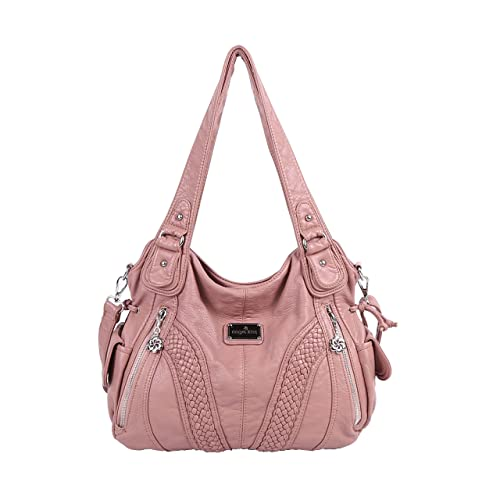 9f5ebe12883d Angelkiss Women Top Handle Satchel Handbags Shoulder Bag Messenger Tote  Washed Leather Purses Bag …