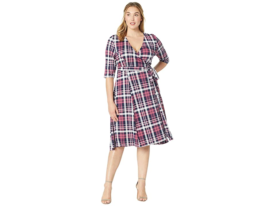 Kiyonna Essential Wrap Dress (Mulberry Plaid) Women