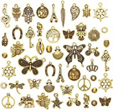 Niome 50 Pcs/Set Lots Antique Gold Mixed Styles Charm Pendants DIY Jewelry for Necklace Bracelet Craft Findings Making